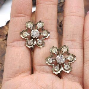Vintage antique screwback rhinestone flower silver